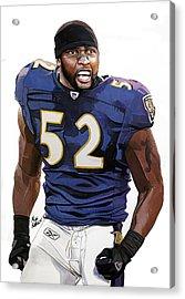 Ray Lewis Baltimore Ravens Acrylic Print by Michael  Pattison