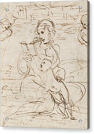Reading Madonna And Child In A Landscape Betweem Two Cherub Heads Acrylic Print by Raphael