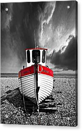 Rebecca Wearing Just Red Acrylic Print by Meirion Matthias