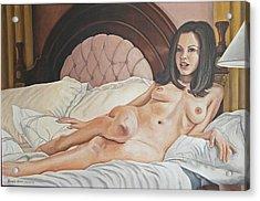 Reclining Nude Acrylic Print by Kenneth Kelsoe