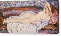 Reclining Nude  Acrylic Print by Theo van Rysselberghe