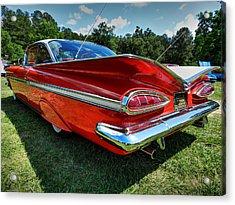 Red '59 Impala 001 Acrylic Print by Lance Vaughn