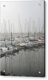 Red And Blue Boats Acrylic Print by Laurie With