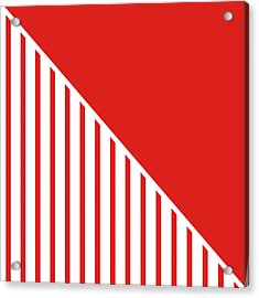 Red And White Triangles Acrylic Print by Linda Woods