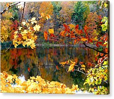 Red Autumn Leaves Reflecting In The Water 1 Acrylic Print by Lanjee Chee