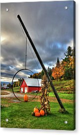 Red Barn And Pumpkins In Autumn - Vermont Acrylic Print by Joann Vitali