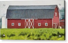 Red Barn Green Field Acrylic Print by Dan Sproul