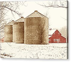 Red Barn In Snow Acrylic Print by Marilyn Hunt