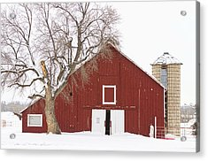 Red Barn Winter Country Landscape Acrylic Print by James BO  Insogna