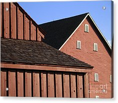 Red Barns And Blue Sky With Digital Effects Acrylic Print by William Kuta