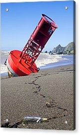 Red Bell Buoy On Beach With Bottle Acrylic Print by Garry Gay