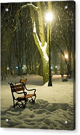 Red Bench In The Park Acrylic Print by Jaroslaw Grudzinski