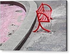 Red Bench Acrylic Print by Tom Gowanlock