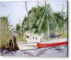 Red Boat Acrylic Print by Barbara Pearston