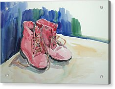 Red Boots Acrylic Print by Becky Kim