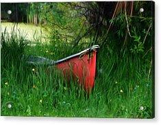 Red Canoe Acrylic Print by Debra Baldwin