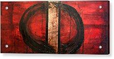 Red Circle Of Life Acrylic Print by Ellen Beauregard