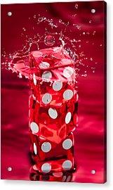 Red Dice Splash Acrylic Print by Steve Gadomski
