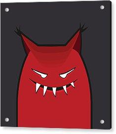 Red Evil Monster With Pointy Ears Acrylic Print by Boriana Giormova
