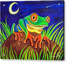 Red-eyed Tree Frog And Starry Night Acrylic Print by Nick Gustafson