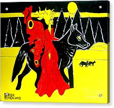 Red Faerie And Black Wolf With Yellow Moon Acrylic Print by Genevieve Esson
