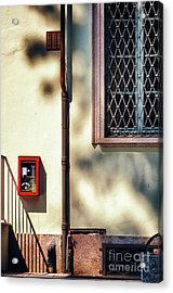 Red Fire Box With Window, Shadows And Gutter Acrylic Print by Silvia Ganora