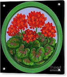 Red Geranium On Wood Acrylic Print by Anna Folkartanna Maciejewska-Dyba