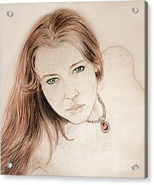 Red Hair And Freckled Beauty Acrylic Print by Jim Fitzpatrick
