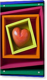 Red Heart In Box Acrylic Print by Garry Gay