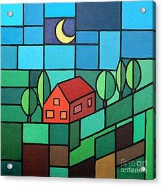 Red House Amidst The Greenery Acrylic Print by Jutta Maria Pusl