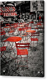 Red In My World - New York City Acrylic Print by Angie Tirado