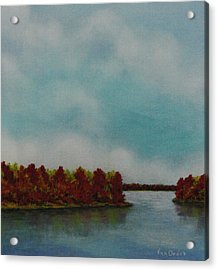 Red Oaks On The River Acrylic Print by Richard Van Order