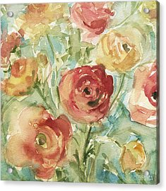Red Orange And Yellow Ranunculus Acrylic Print by Beverly Brown Prints