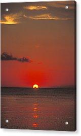 Red Orange Sunset On Horizon Acrylic Print by James Forte