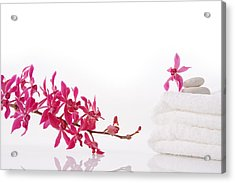 Red Orchid With Towel Acrylic Print by Atiketta Sangasaeng