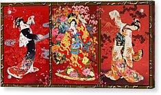 Red Oriental Trio Acrylic Print by Haruyo Morita