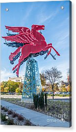 Red Pegasus Of Dallas Acrylic Print by Tod and Cynthia Grubbs