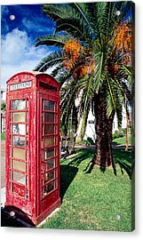 Red Phone Booth Bermuda Acrylic Print by George Oze