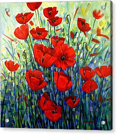 Red Poppies Acrylic Print by Georgia  Mansur