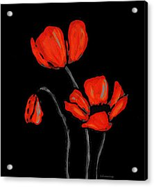 Red Poppies On Black By Sharon Cummings Acrylic Print by Sharon Cummings