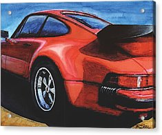 Red Porsche 930 Turbo Acrylic Print by Rod Seel