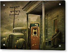 Red Pump With An Old Plymouth Auto At The Gasoline Station Acrylic Print by Randall Nyhof