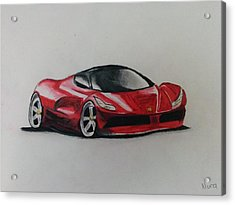 Red Racer Acrylic Print by Nura Abuosba