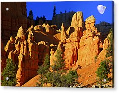 Red Rock Canoyon Moonrise Acrylic Print by Marty Koch