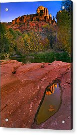 Red Rock Reflection Acrylic Print by Mike  Dawson