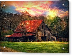 Red Roof At Sunset Acrylic Print by Debra and Dave Vanderlaan