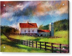 Red Roof Barn Acrylic Print by Lois Bryan