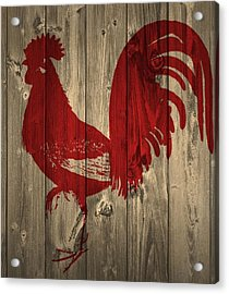 Red Rooster Barn Door Acrylic Print by Dan Sproul