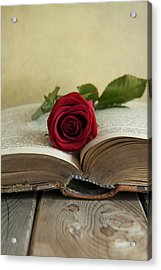 Red Rose On An Old Big Book Acrylic Print by Jaroslaw Blaminsky