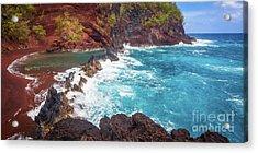 Red Sand Beach Panorama Acrylic Print by Inge Johnsson